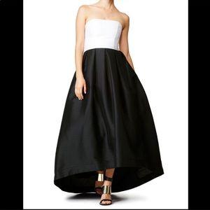 Monique Lhullier Black Dress Color Block Highlow